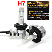 1 Set Super Bright MINI SIZE H7 CSP CHIPS P20 Car LED Headlight All-in-one Turbo Ball Fan 1:1 Front Bulb Lamp 45W 5200LM 6K