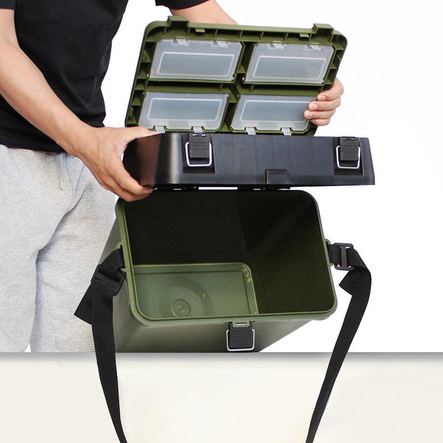33*20*37 cm peut transporter ou s'asseoir seau de pêche épais boîte à poisson vivant boîte de stockage en boîte leurre appât crochet ligne accessoires matériel - 6
