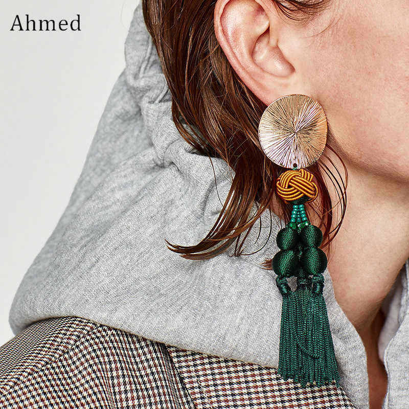 Ahmed Autumn And Winter Ethnic Vintage Handmade Weaving Tassel Pendant Long Earring Fashion Jewelry Drop Earrings For Women