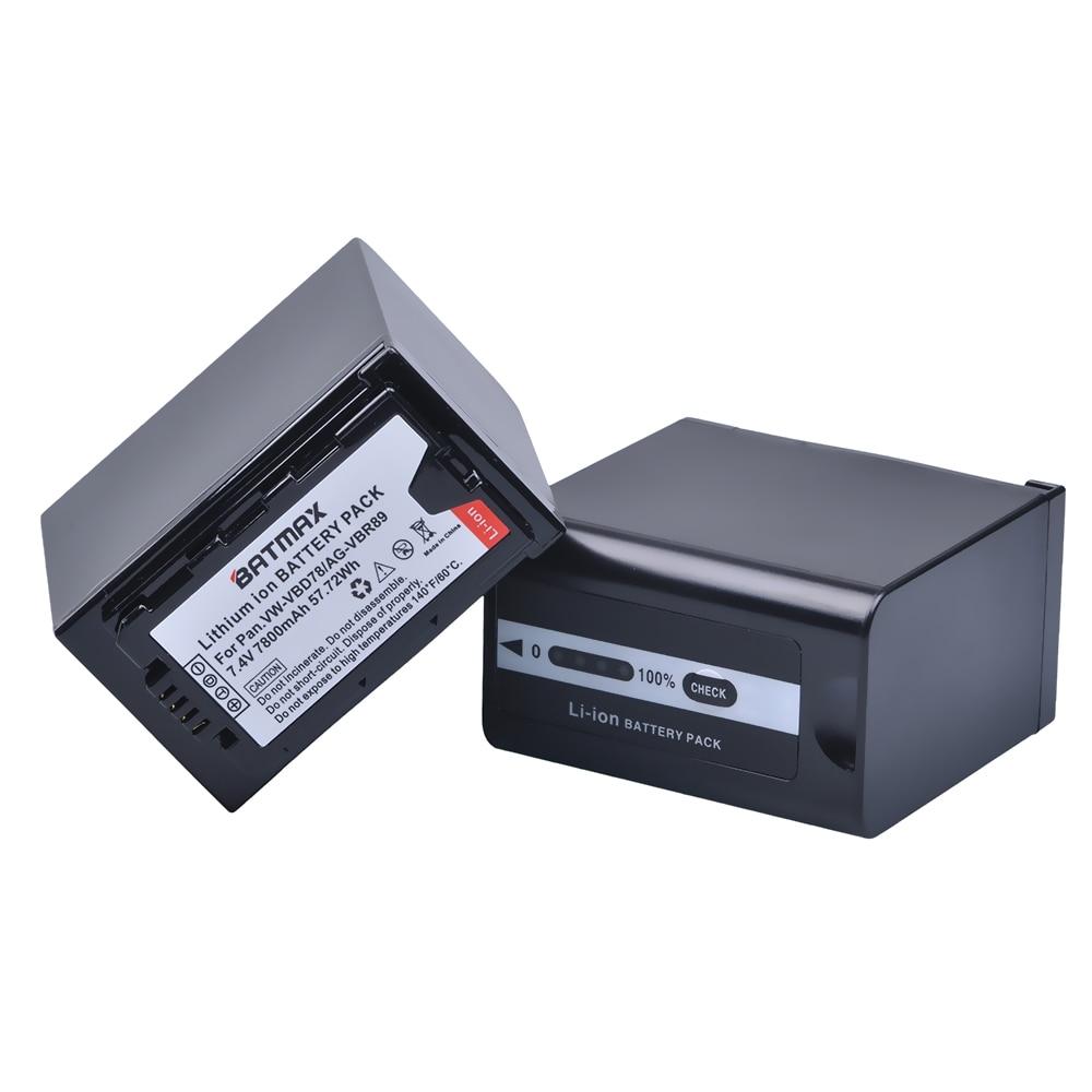 2 pièces 7800 mAh VW-VBD78 VBD78 Batterie pour Appareil Photo Panasonic VW-VBD58 VBD29 VBD58 VBR89 Batteries AJ-HPX260MC, HPX265MC, PX270, PX298,