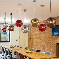 Современные подвесные светильники Стекло абажур Лофт подвесные светильники E27 220 В для столовой Гостиная украшения нерегулярные зеркало по