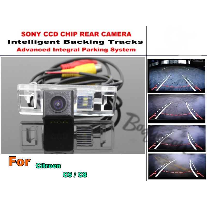 Smart Tracks Chip Camera / For Citroen C6 / C8 HD CCD Intelligent Dynamic Parking Car Rear View Camera smart tracks chip camera hd ccd intelligent dynamic parking car rear view camera for bmw 7 e38 e65 e66 e67 e68