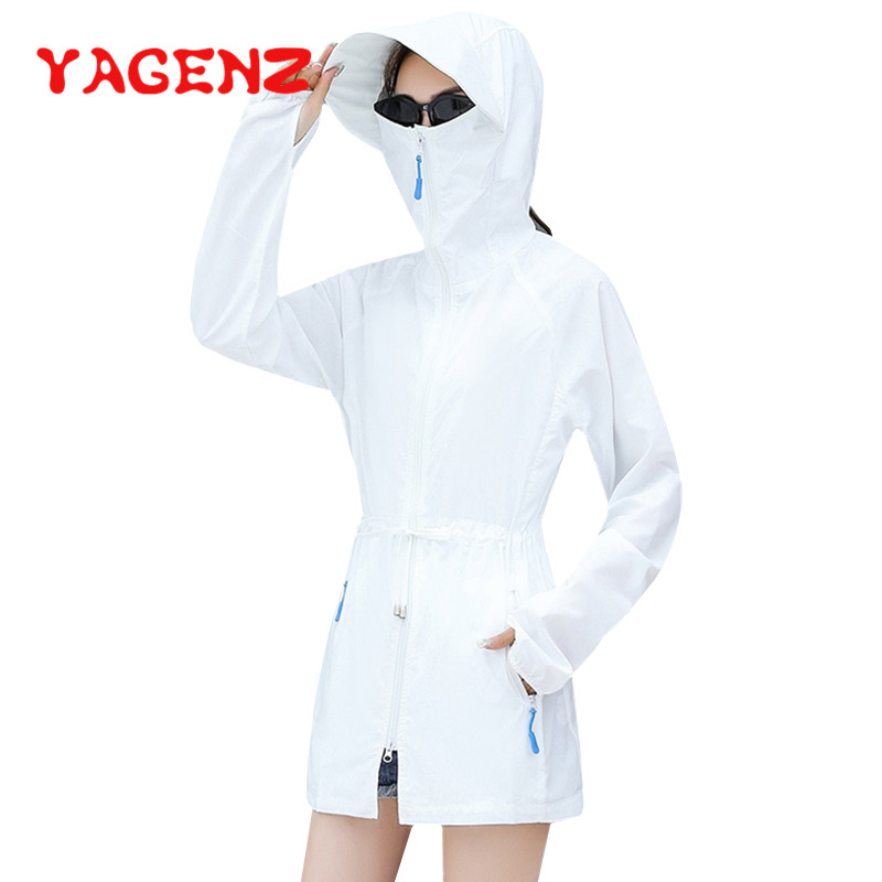YAGENZ Summer Sun Protection Clothes Trench Coat Thin Sportswear Windbreaker Sun Protection Suit Breathable Sunscreen Coat 389