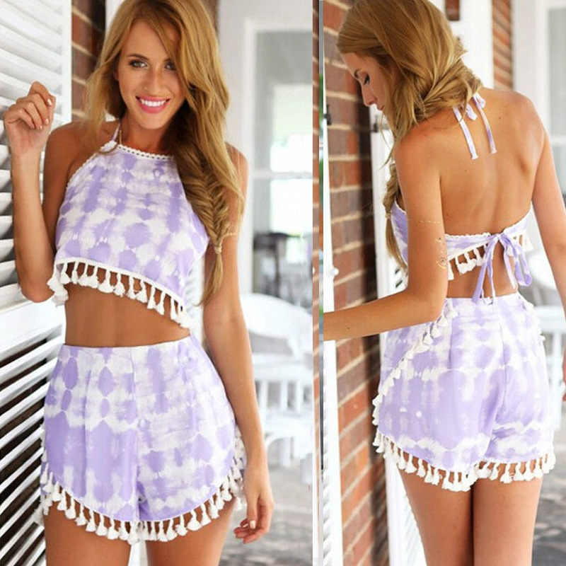e96aeeb8e79 Crop Top Shorts Set Summer Sexy Sleeveless Halter Beach Feminino 2 Piece  Set Women Print Tassel Boho Backless Slim Costumes 40F