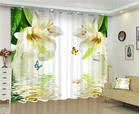 2017 White lily photo Blackout Window Drapes Luxury 3D Curtains For Living room Bed room Office Hotel Home Wall Tapestry
