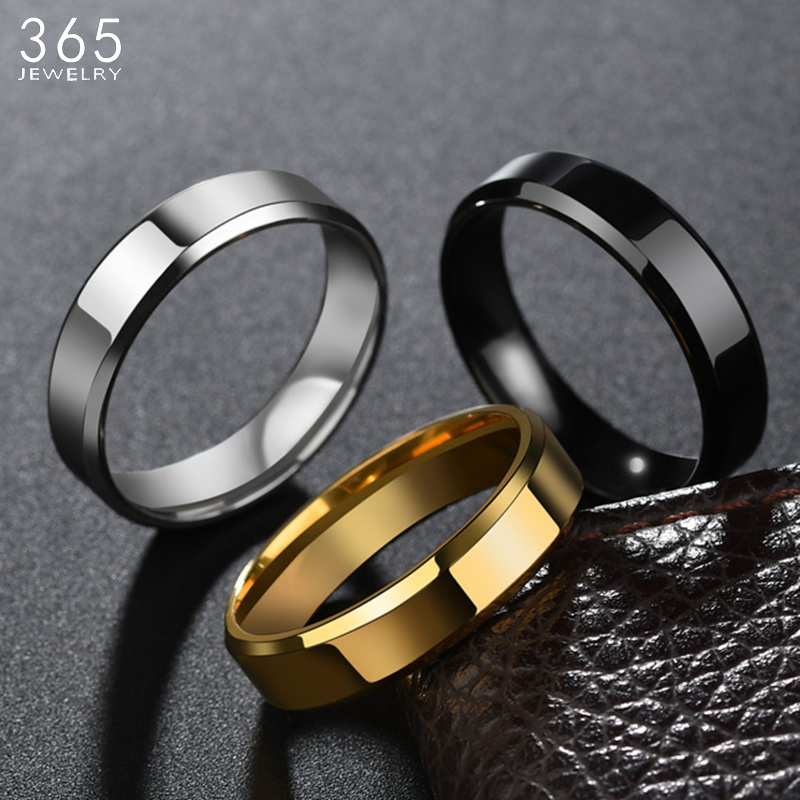 High Quality 6mm Stainless Steel Ring For Women Men Fashion Gold Color Finger Rings Wedding Band Jewelry Gift