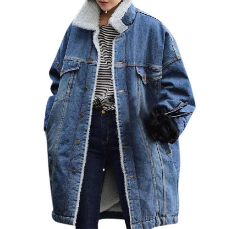 WomenCoat Denim Jacket Winter Jeans Vintage Coat Parkas Loose Female Warm Outwear Thick Clothes