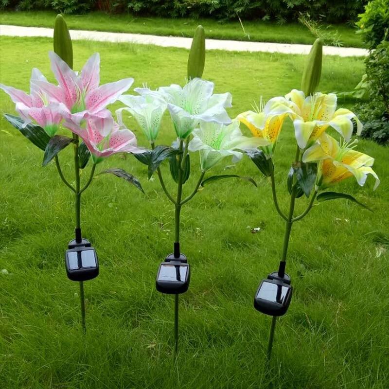 3 LED Solar Power Lily Flower Stake Lighting Yard Landscape Light Garden Outdoor