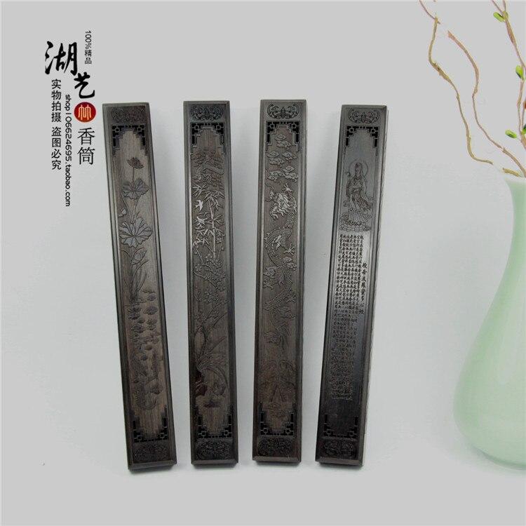 Encensoir monolithe ébène avec évider lie douce boîte de joss bâton sculpté guanyin coeur sutra boîte de vente en gros