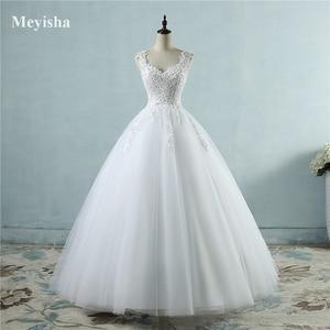 Image 2 - Vestido de baile para noivas, vestido de casamento elegante, branco marfim, com borda no pescoço, tamanhos grandes zj9076 2019 2020