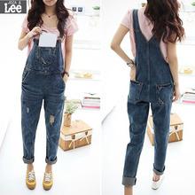 2016 New Women Baggy Denim Jeans Full Length Pinafore Dungaree High Quality Jumpsuit
