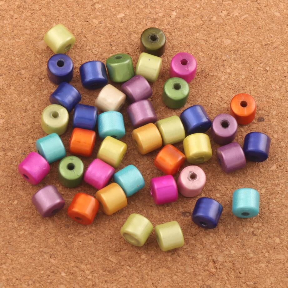 70PCS 8x8.5mm Colorful Acrylic Illusion Miracle Loose Spacer Tube Beads Jewelry DIY L1803