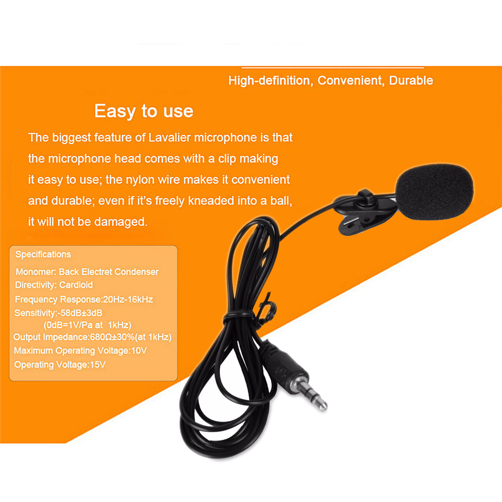 Lavalier Microphone Wired-Collar Louder-Speaker Laptop Universal Mini Clip Lapel Portable