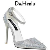 D H Brand Shoes Gold A Word Belt Women S High Heels Women Pumps Stiletto