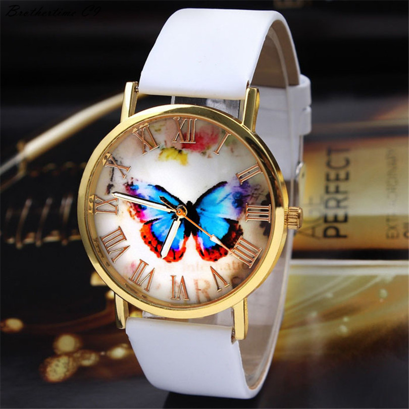 Brothertime C9 New Arrival Womens Fashion Butterfly Style Leather Band Analog Quartz Wrist Watch 090 Free