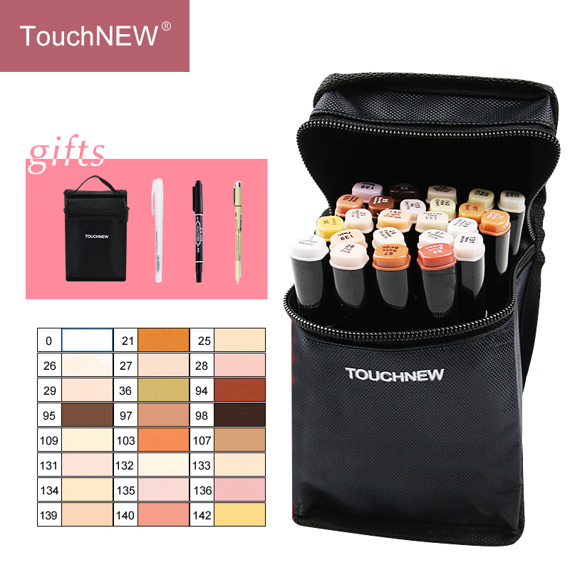 TouchNEW 12/24Colors Skin Tone Marker Set Dual Head Alcohol Based Ink Sketch Markers Pen For Drawing Animation Art Supplies