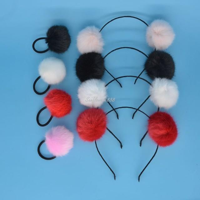 Women Girls Soft Furry Hair Pompom Ball Headband Ponytail Holder Hair Rope Ring  Kids Adults Halloween Christmas 008fe56108