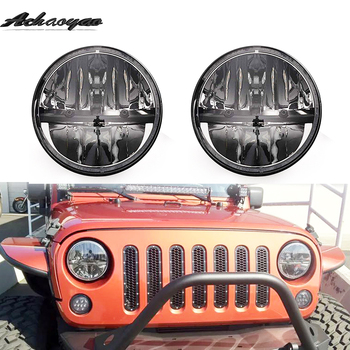 1 Pair 7 Inch Black Round LED Headlights DOT Approved H4 Hi/Lo Beam For Jeep Wrangler JK TJ Hummer H1 & H2