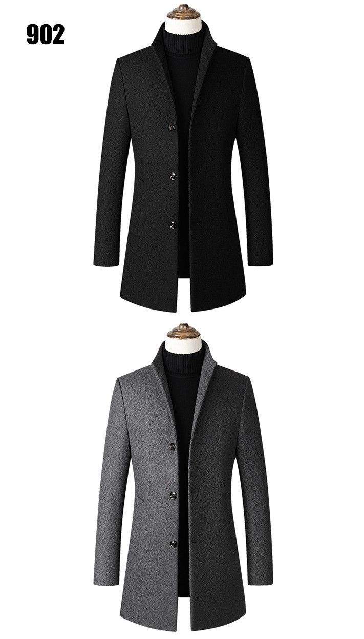 Winter Wool Jacket Men's High-quality Wool Coat casual Slim collar wool coat Men's long cotton collar trench coat 5