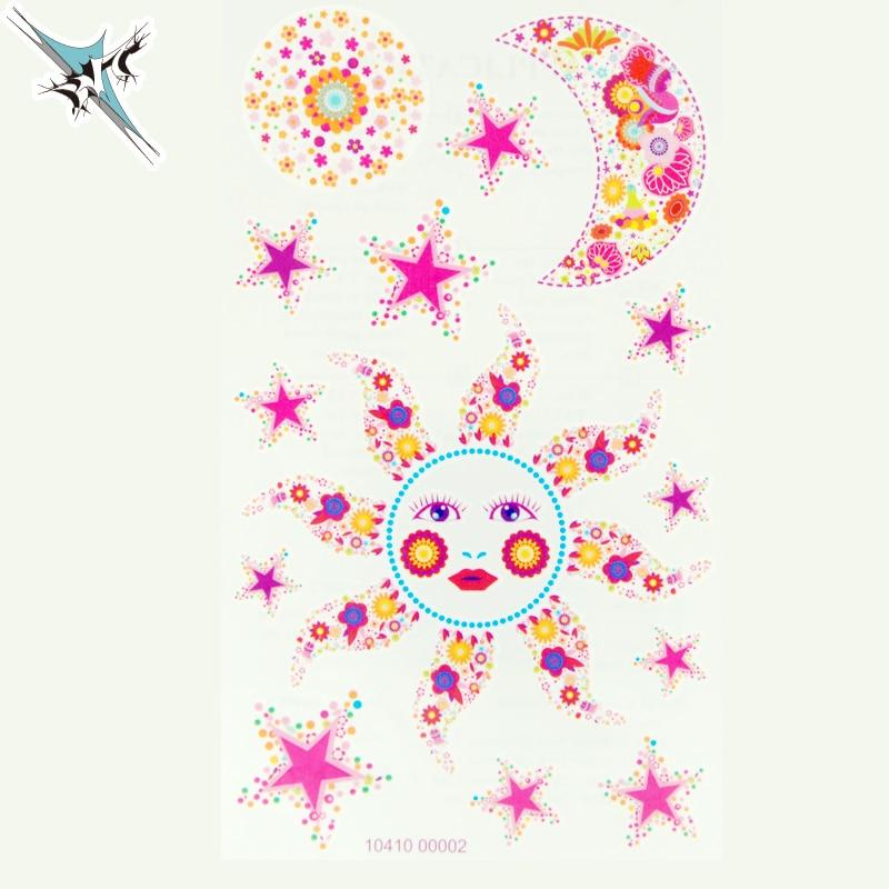 New Design Flash Tattoos Body Art Colorful Beautiful Sun Moon Stars