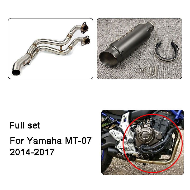 MT-07 MT07 FZ-07 FZ MT 07 Motorcycle Full Set Muffler Exhaust Contact Middle Pipe Modified For Yamaha MT-07 FZ-07 2014-2017 kinklight 0130t 07