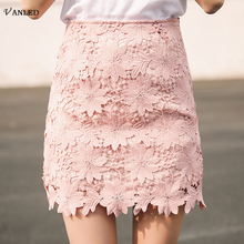 VANLED 2017 New Korean Style Lady Women Skirt Summer Casual Bodycon Solid Women Crochet Hollow Out Short Package Hip Skirts Z164