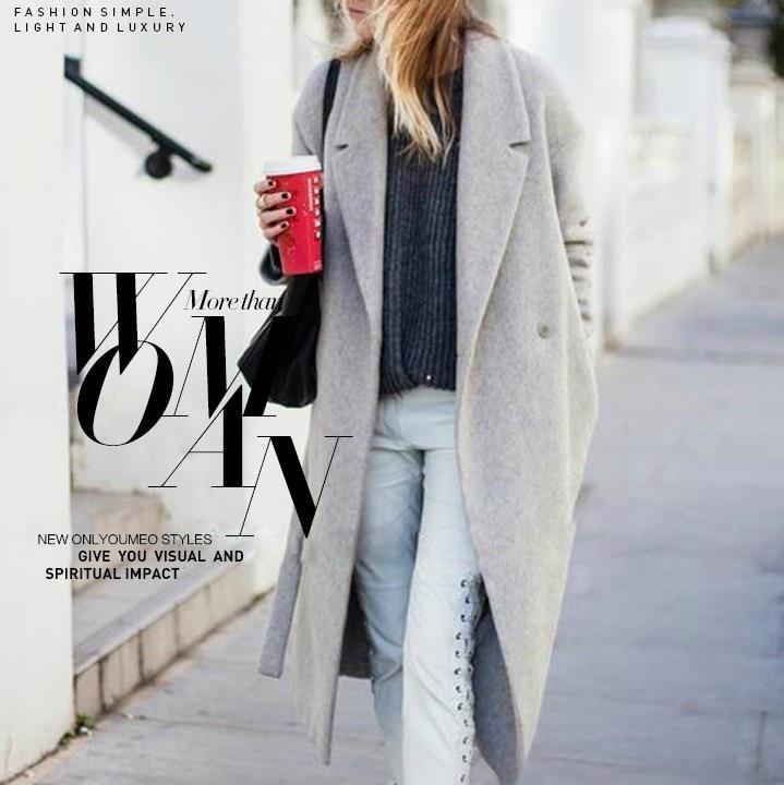 e898b21cc343e Women s Grey Wool-like Coats Winter Long coat 2018 New Design Hollywood  Warm x-