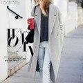 Женская Серый Шерсть, как Пальто Зимой Длинное пальто 2015 Новый Дизайн Голливудская Теплая x-долго Негабаритных Имитация кашемир Пальто Светло-Серый