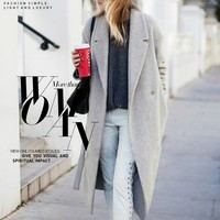 Women's Grey Wool like Coats Winter Long coat 2018 New Design Hollywood Warm x Long Oversize Imitation Cashmere Coats Light Grey