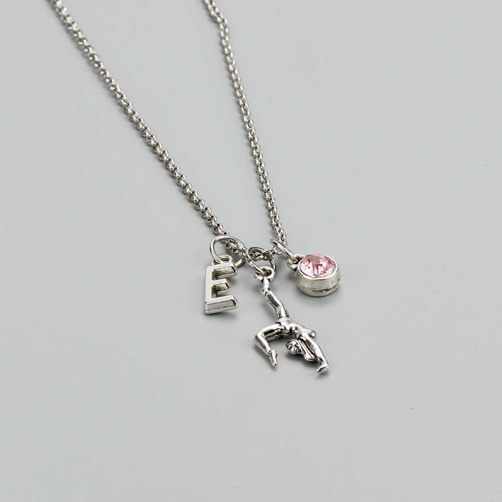 A-Z Initial Letter Fitness Gymnastic Girl Alloy Link Chain 12 Months Birth Stone Crystal Jewelry Men Women Pendant Necklace Gift