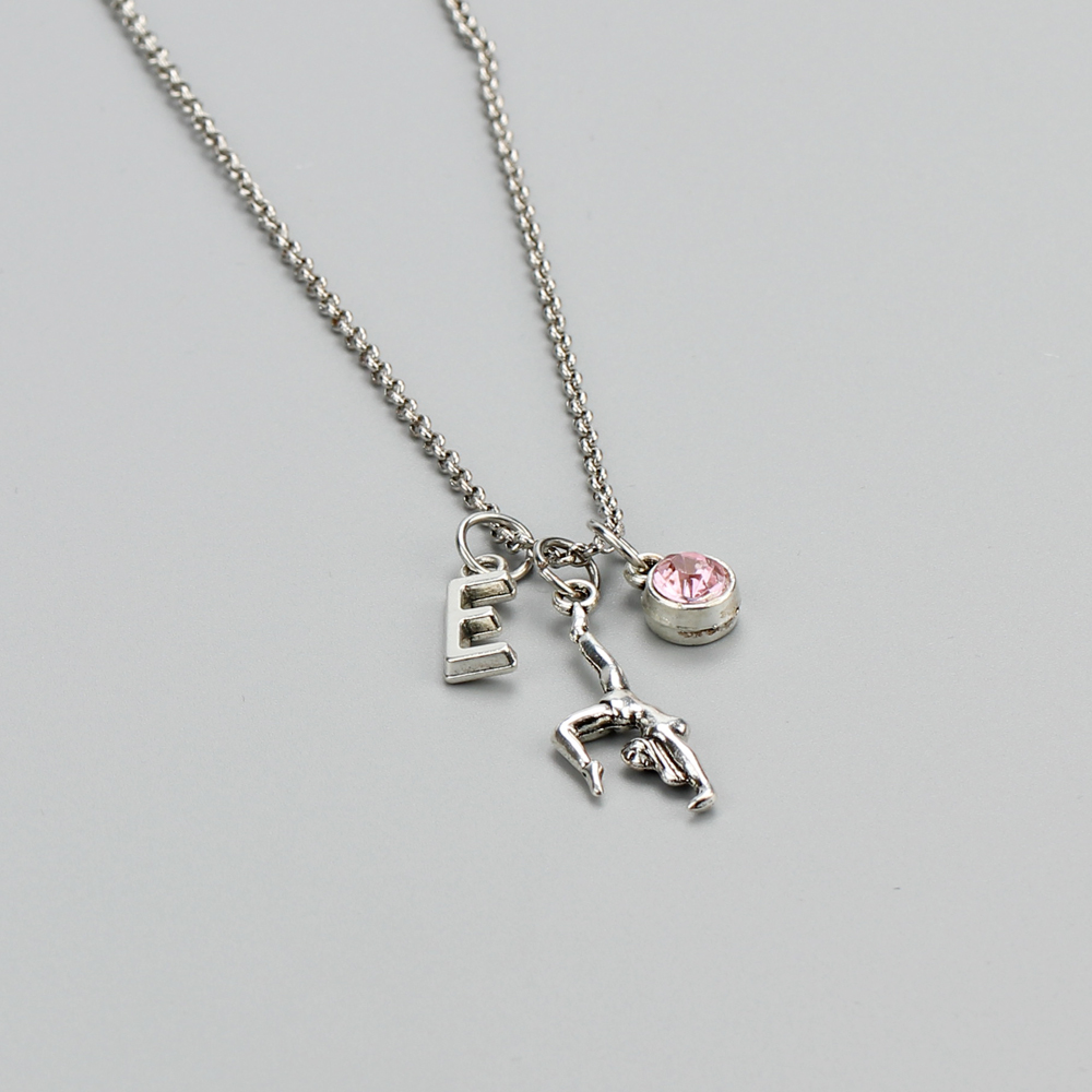 A Z Initial Letter Fitness Gymnastic Girl Alloy Link Chain