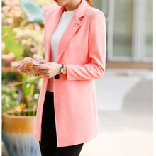 2016 OL commuter long small suit female coat of cultivate one s morality long sleeved fashion