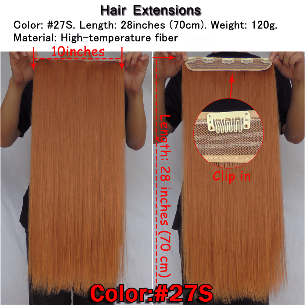 Image 2 - wjz12070/27S 5p Xi.rocks wig Synthetic Clip in Hair Extension Length Straight Hairpiece Hair Clips Matte Fiber Ginger wigs-in Synthetic Clip-in One Piece from Hair Extensions & Wigs