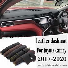 For Toyota camry 8th generation 2018 2019 Leather Dashmat Dashboard Cover Pad Dash Mat Carpet Car Styling Accessories custom(China)