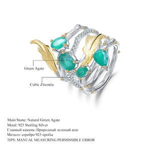Image 5 - GEMS BALLET 925 Sterling Sliver Vintage Neo Gothic Ring 2.26Ct Natural Green Agate Gemstone Finger Rings For Women Fine Jewelry