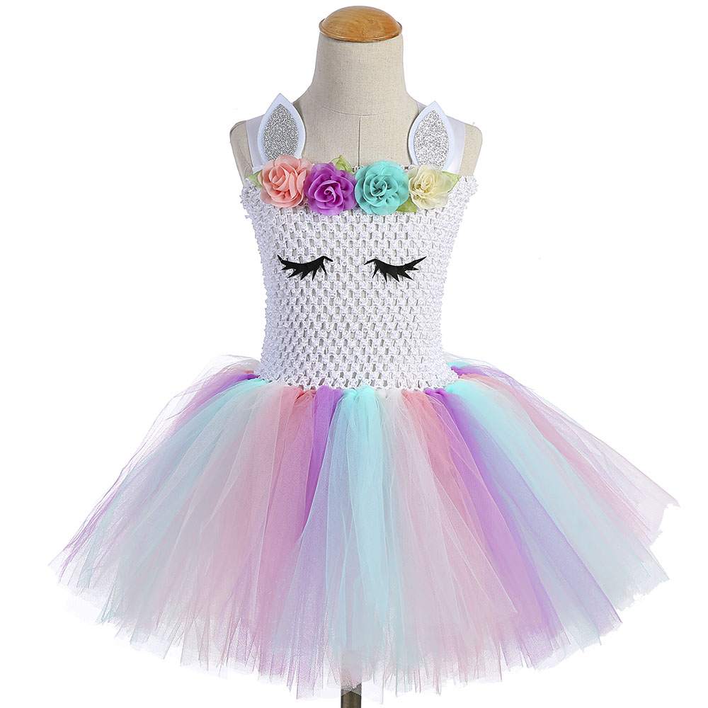 8451eb4437072 US $14.96 39% OFF|Pastel Light Color Girl Unicorn Tutu Dress Flowers Girls  1ST Birthday Party Tulle Dress with Headband Child Holidays Costume Set-in  ...