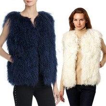 Женская Шуба без рукавов, Женская Повседневная монгольская овечья меховая жилетка,, женская модная меховая одежда Fest Feal Fheep
