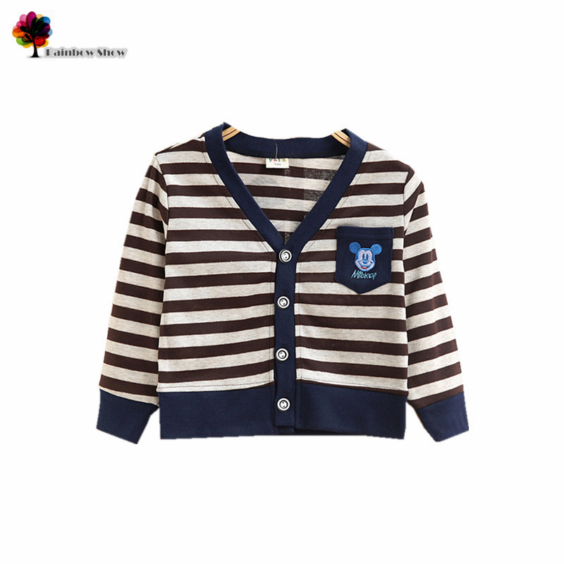 Kids T-Shirt Clothing Spring Autumn Boys Striped Casual Cotton Cartoon Children New And