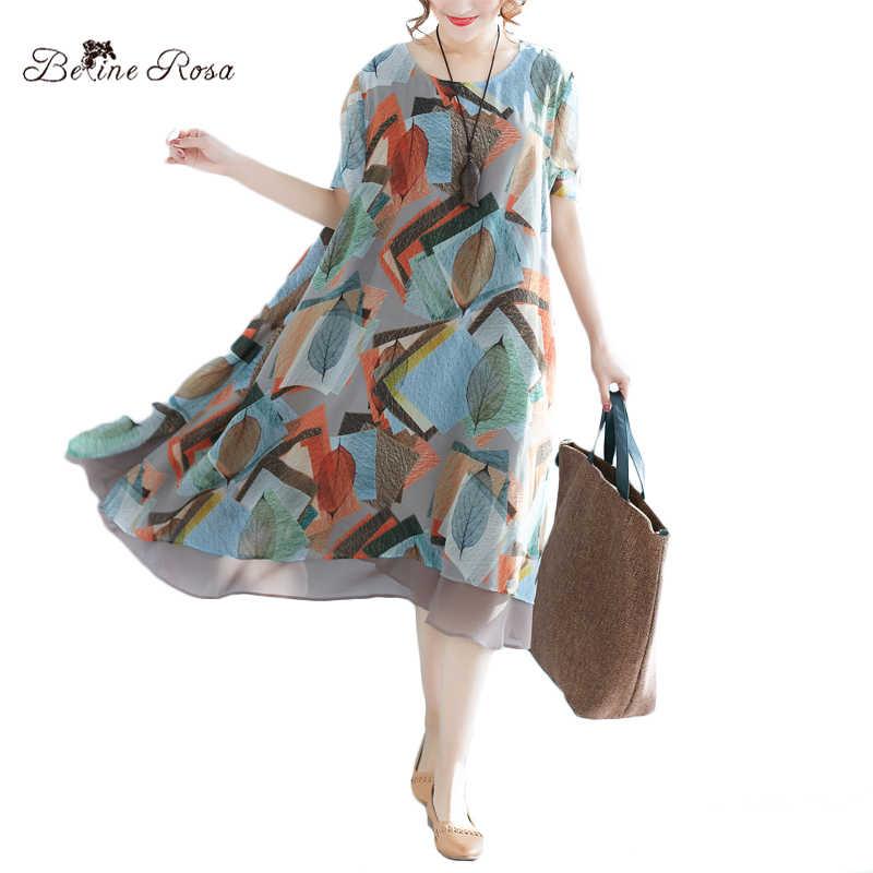 BelineRosa 2018 Women s Printed Dresses Chiffon Dress Plus Size Clothes for Summer  Ladies Female Clothing XMR00062 ecd50147e493