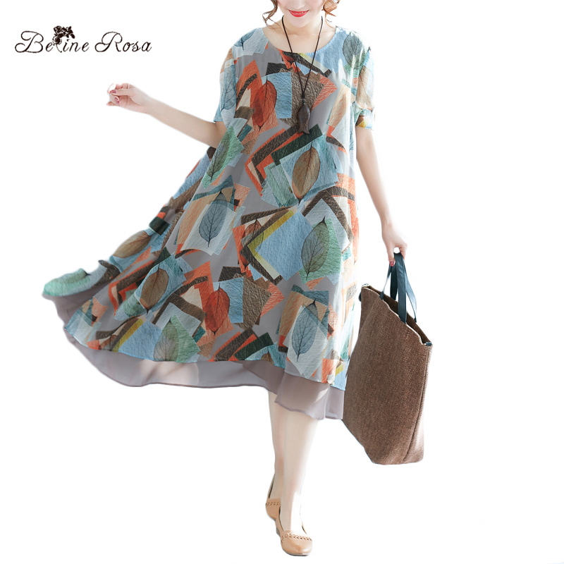 BelineRosa 2018 Womens Printed Dresses Chiffon Dress Plus Size Clothes for Summer Ladies Female Clothing  XMR00062