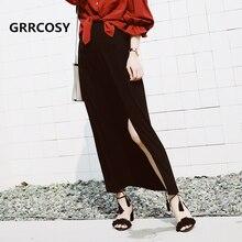 GRRCOSY A-Line Skirts Womens Maternity Long Elastic Waist Belly Side Split for Pregnant Pregnancy For 40-80kg