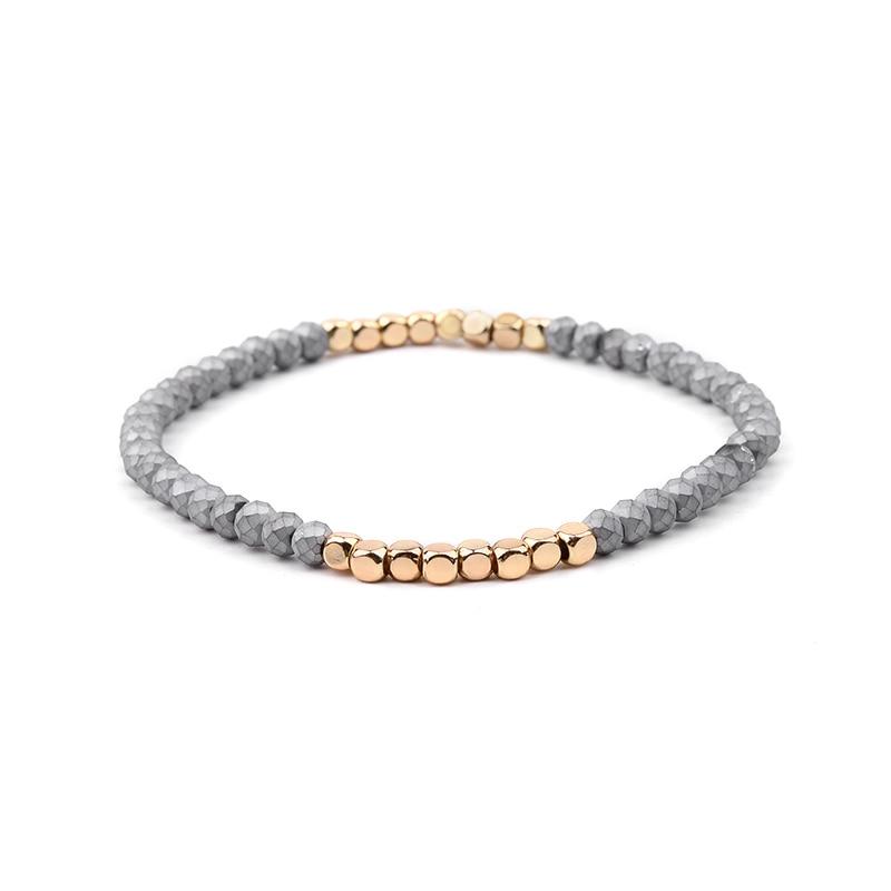 BOJIU многоцветные Кристальные браслеты для женщин золотые акриловые медные бусины розовый белый черный серый женский браслет с кристаллами BC226 - Окраска металла: 10-Gray