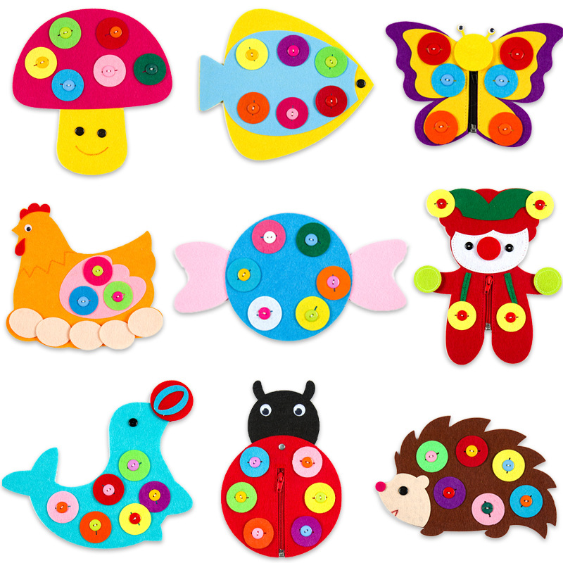 Hand Zipper Button Teaching Kindergarten Manual Diy Weave Cloth Early Learning Education Toys For Children Montessori Aids