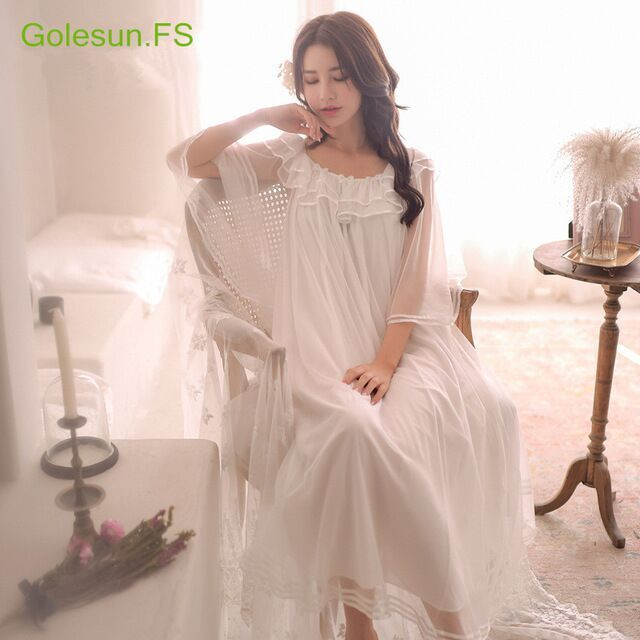 b157747347 Summer Women Gowns Lace Cotton Princess Nightgown Ladies Casual Sleepwear  Women Night wear Middle East Retro