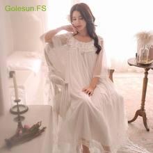 9e1aca60c Verano mujeres vestidos de encaje algodón princesa camisón damas Casual  ropa de dormir mujeres ropa de