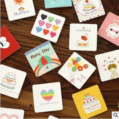 168pcs Lot Birthday Greeting Card Mini Cards Happy Lifestyle Cartoon DIY Gift Postcard For Friends CN 1009