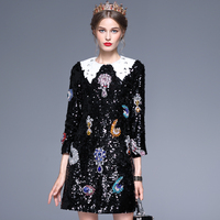 2017 Autumn Women High Quality Sequins Rhinestones Vintage Loose Dress Ladies Peter Pan Collar Three Quarter