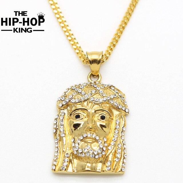 Herren Gold Farbe Jesus Gesicht Anhänger Hip Hop Halskette Große und ...