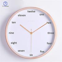 Silently Quartz Needle Mute Wall Clock For Decor Minimalist Black Rose Gold White Wall Clocks Vogue Simple Round Watches