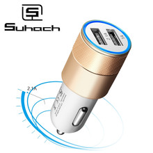Suhach Dual USB Car Charger 5V 2.4A For Iphone X 8 7 Plus Un